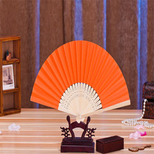 New Delicate Wedding Decoration Party Supplies Folding  orange Paper Fan High Quality Paper Hand Fan 11pcs