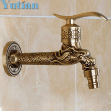 Antique Bronze Dragon Carved Tap Animal Shape Faucet Garden Bibcock Washing Machine Faucet Outdoor Faucet For Garden YT-5157-A(China)