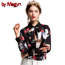 2017 summer Women Blouses Long Sleeve Female clothing women shirts Bow Necktie Pet dog Print plus size XXXL women tops blouses(China)