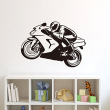 DCTOP Motorcycle Racing Driver PVC Wall Stickers Bedroom Decorative Art Design Wall Decals Home Decoration(China)