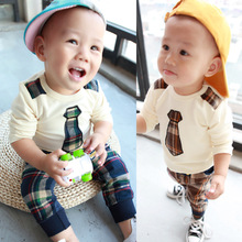 Hot sale baby boy clothing set spring 2017 boy new casual fake tie long sleeve sweatshirts +plaid pants 6-24 months !