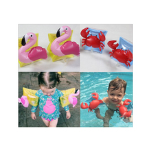 Cute Swimming Arm Ring Crab Flamingo Inflatable Arm Bands Swimming Floatation Sleeves Arm Floats for 2-8 Years Old Children(China)