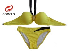 Sexy girl bandeau top bikini set brands brazil bottom.solid bra OEM/ODM order accepted factory supplier