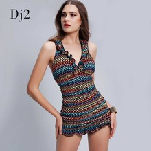 New Curled Selvedge V-neck Women One Piece Swimwear Dress Hot Sale Sexy Slimming Female Swimsuit Brazilian Scrunch Beachwear XL(China)