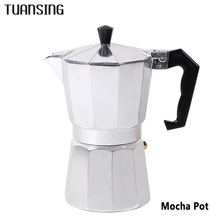 TUANSING Stovetop Coffee Maker Aluminum Mocha Espresso Percolator Pot Coffee Maker Mocha Pot 1cup/3cup/6cup/9cup/12cup(China)