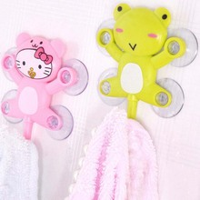 Animal Shape Kitchen Tools Bathroom Sets Home Creative Design Family Cartoons Rotatable Sucker Hooks Clothes/Garden Hook D0250