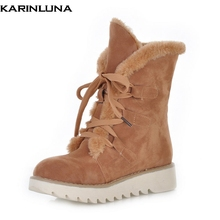 Karinluna 2018 Fashion 큰 Size 32-43 Warm 눈 편안한 Warm 화 Woman Ankle Boots Woman 추 Fur Winter 부츠(China)