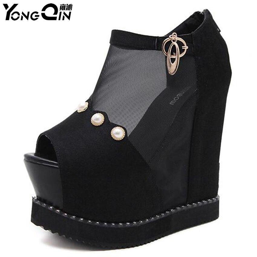 Women Wedges Sandals Pearl High Heels Sandals Women Shoes Casual Platform Pumps shoes<br>