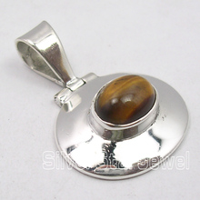 Solid Silver TIGER EYE CHARMING HINGE Pendant 2.7CM