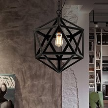 Retro industrial American country style wrought iron chandelier creative personality polyhedral diamond chandelier engineering