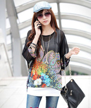 Bohemian Lady Oversized Blouse Boho Floral Printed Chiffon Tops Summer Women Long Batwing Sleeve Casual Loose Shirts Blusa #LH(China)