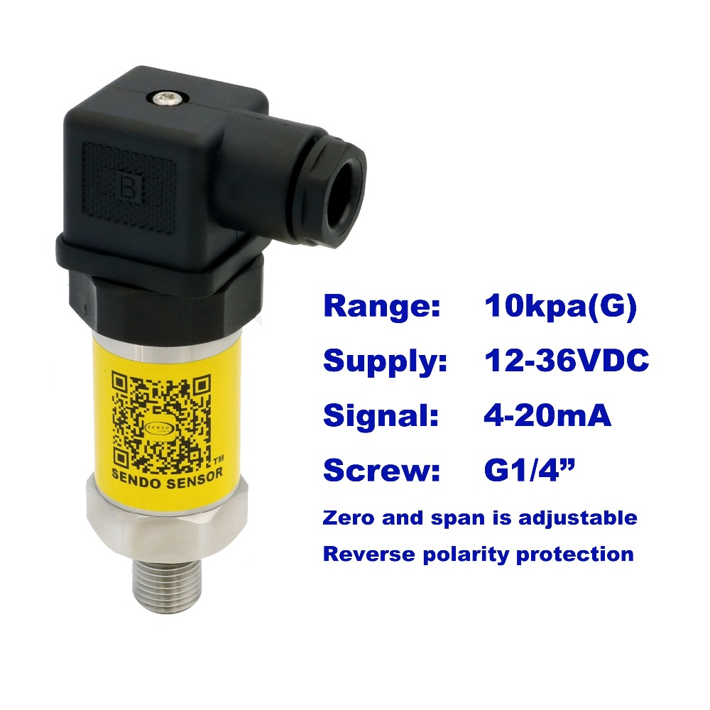4-20mA pressure sensor, 12-36V supply, 10kpa/0.1bar gauge, G1/4, 1.0% accuracy, stainless steel 316L diaphragm, low cost<br>