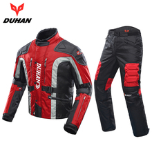 DUHAN Autumn Winter Cold-proof Motorcycle Jacket Moto+Protector Motorcycle Pants Moto Suit Touring Clothing Protective Gear Set(China)
