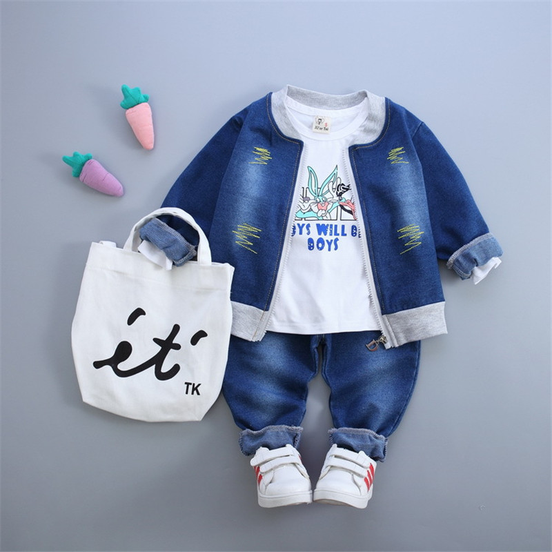 Boys causal clothes fall 3 baby cartoon rabbit jeans jacket + + T shirt trousers set toddler boys suit<br><br>Aliexpress