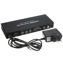 Hot Sale 1080P/720P 5 RCA Component Video VGA / YPbPr + L/R AUDIO TO HDMI HDTV Converter Adapter