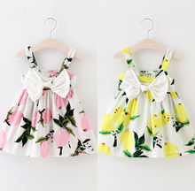 Summer Baby Girls Dress Sleeveless Floral Lemon Bowknot Sundress Clothes 0-3Y