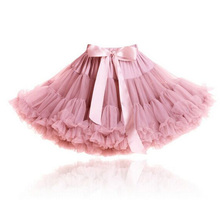 Girls Fluffy 2-18 Years Chiffon Pettiskirt Solid Colors tutu skirts girl Dance Skirt Christmas Tulle Petticoat