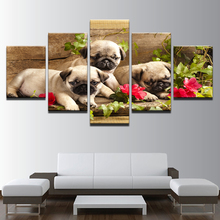 Home Wall Art Decor Frame Modular Pictures HD Print 5 Piece Cute Pug Puppies And Flower Painting Animal Dog Canvas Poster PENGDA(China)
