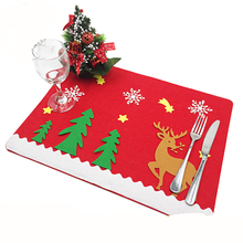 Happy Christmas Table Cloth Cutlery sets(not include tableware) Placemats Home Party Decor Christmas Table Decoration Supplies D