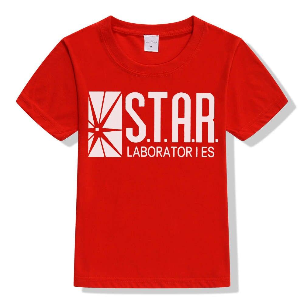 3-10Y Kids Black Star Lab Letter Print Short Sleeve T Shirt Boys Novelty T-shirt Girls Tshirt Clothes Anime Comics The Flash 9