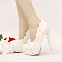 White Lace Flower Bridesmaid Shoes Stilettle Heel Bridal Shoes with Ivory Pearl Heel Banquet Prom Pumps Wedding Party Shoes
