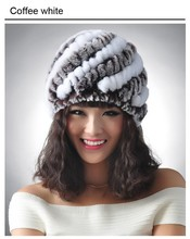 New Knitted genuine natural REX rabbit fur hat cap headgear headdress women warmer skullies Wholesale Free shipping