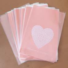 100pcs 13x19cm Pink Heart  Lace Bakery Cookie Candy Sweet Biscuit Gift Soap OPP Plastic Bag Kids Birthday Wedding Decorations