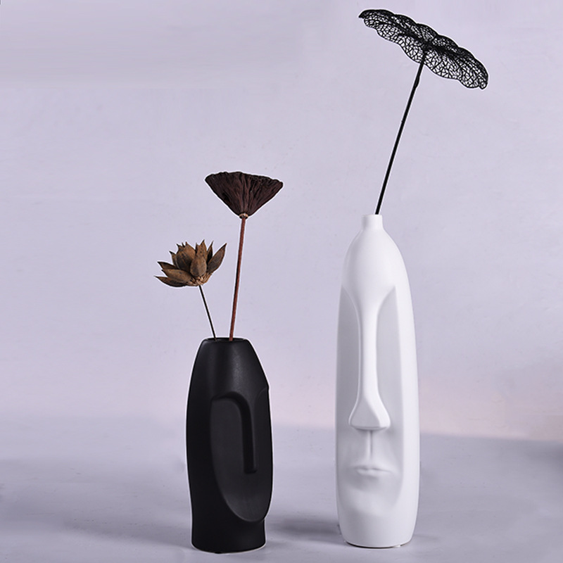 Nordic creative ceramic vase ornaments dried flowers living room home decoration Office bar display C022