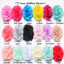 fancy headbands chiffon rose flower in18colors ,hair flower for garment decoration 100pcs/lot shabby flower