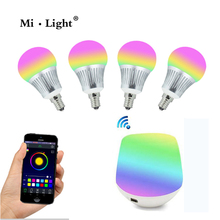 Milight E14 5W RGB+CCT RGBWW LED bulb with WIFI controller 16 millions colors led home lighting control by smartphone(China)