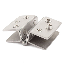 Shower Door Stainless Steel Glass-to-Glass Clamp Clip Hinge for 8mm - 10mm Glass(China)