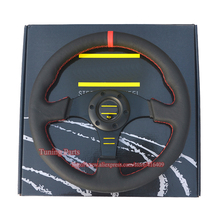 330mm Universal Leather Sport Car Steering Wheel Flat Style With Red/Yellow Stitch