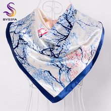 [BYSIFA] Silk Scarves China 2016 New Tree Pattern Female Large Silk Scarf Multi Head Scarves Luxury Blue Satin Winter Scarves(China)