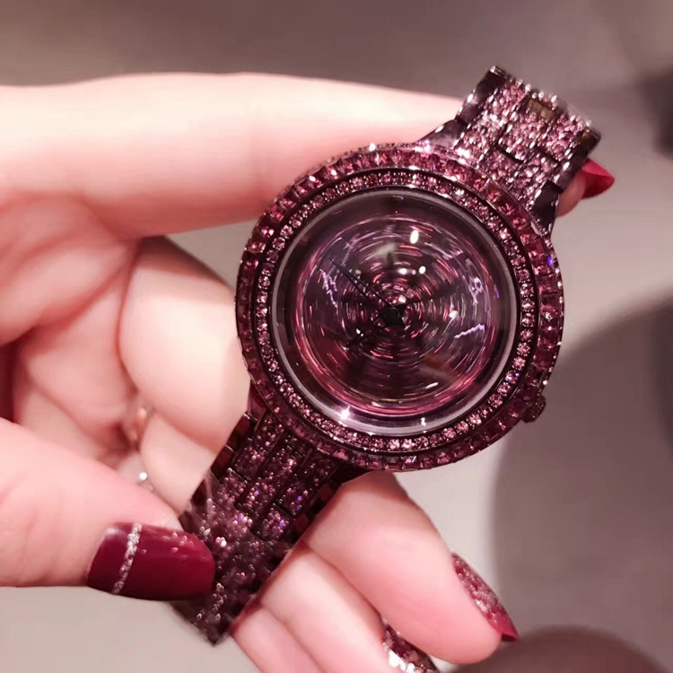 2017 Top Brand Noble Purple Crystal Ladies Watches Lucky Rotational Steel Watch Luxury Full Dress Wristwatch Montre femme QW101<br>
