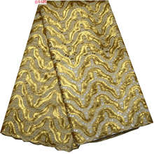Special Knitted High quality Gold Sequin African Double organza lace with hand cut ,Swiss Cotton Organza with Stones F4-402