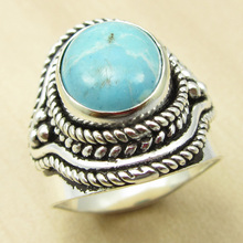 MEN'S Ring Size US 7.25 ! LARIMAR ANTIQUE STYLE Silver Plated Jewelry BRAND NEW India Jewelry