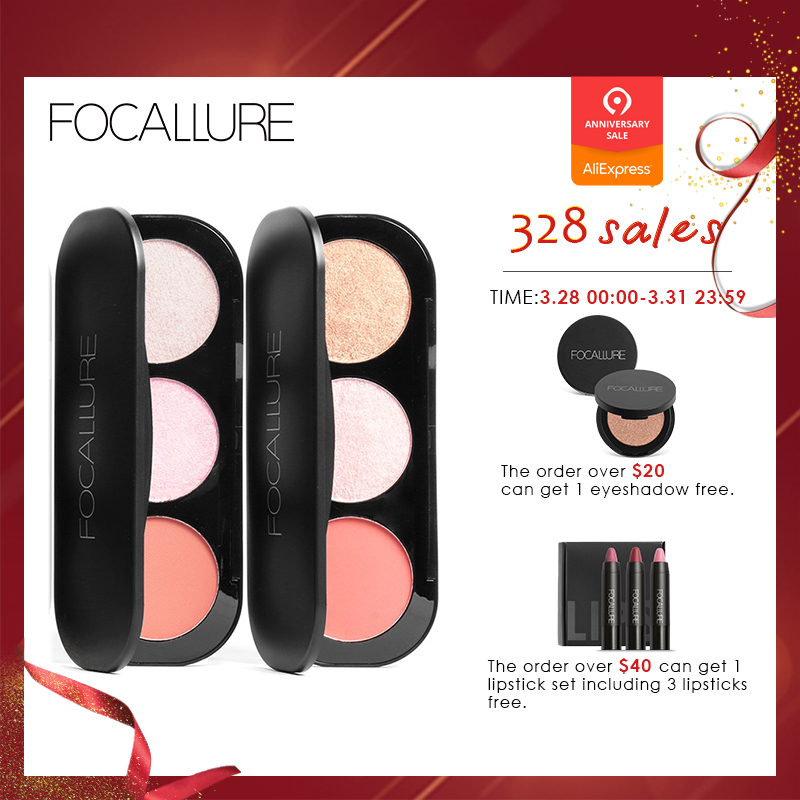 Eye Shadow Focallure Brand 3 Colors Blush & Highlighter Palette Highly Pigmented Face Matte Highlighter Powder Illuminated Blush With Brush