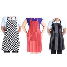 Hot Adjustable Stripe Bib Apron with 2 Pockets Chef Waiter Kitchen Cook New Tool Kitchen Apron Free Shipping & Wholesale(China)