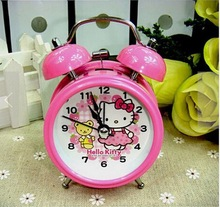 High Quality Sweet Pink Hello Kitty Metal Luminous Table Digital Alarm Clock Desk Clocks Anime Children 8*13*5CM(China)