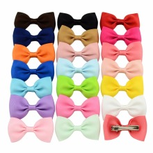 2.75 Inch Solid Boutique Grosgrain Ribbon Girl Small Bow Elastic Hair Tie Clip Hair Band Bow DIY Hair Accessories Best Gift 1PCS