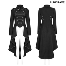 Fashion Button decoration Rear pendulum swing design High collar lapel collar Military Uniform Worsted Long Coat PUNK RAVE