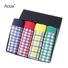 Aoue Sexy Mens Plaid Print Brand Boxes pack Underwear 4PCS lot Cueca Boxers Masculina shorts underpants Male Panties