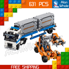 631pcs 2in1 Technic Container truck and loader Straddle-Carrier Yard 20035 Model Building Kit Blocks Toys Compatible With lego