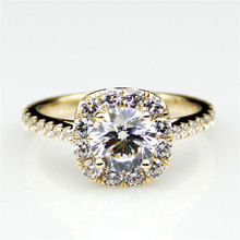 LASAMERO Round 1.0ct  Moissanites Halo Ring Style Pave Set Accents 9k Yellow Gold Engagement Ring Fine Jewelry