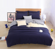 Two-tone Bedding Sets Custom Duvet Cover Set USA Russia Size bed Linens King Bed Cover Set Solid Color Bedclothes Navy Gray