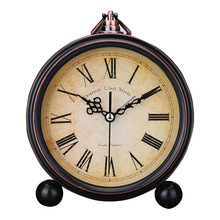 Retro European Round Alarm Clock Stand Silent Quartz Clock Simple Bedside 6 Inch Digital Soonze Bell Reloj Alarm Clock(China)