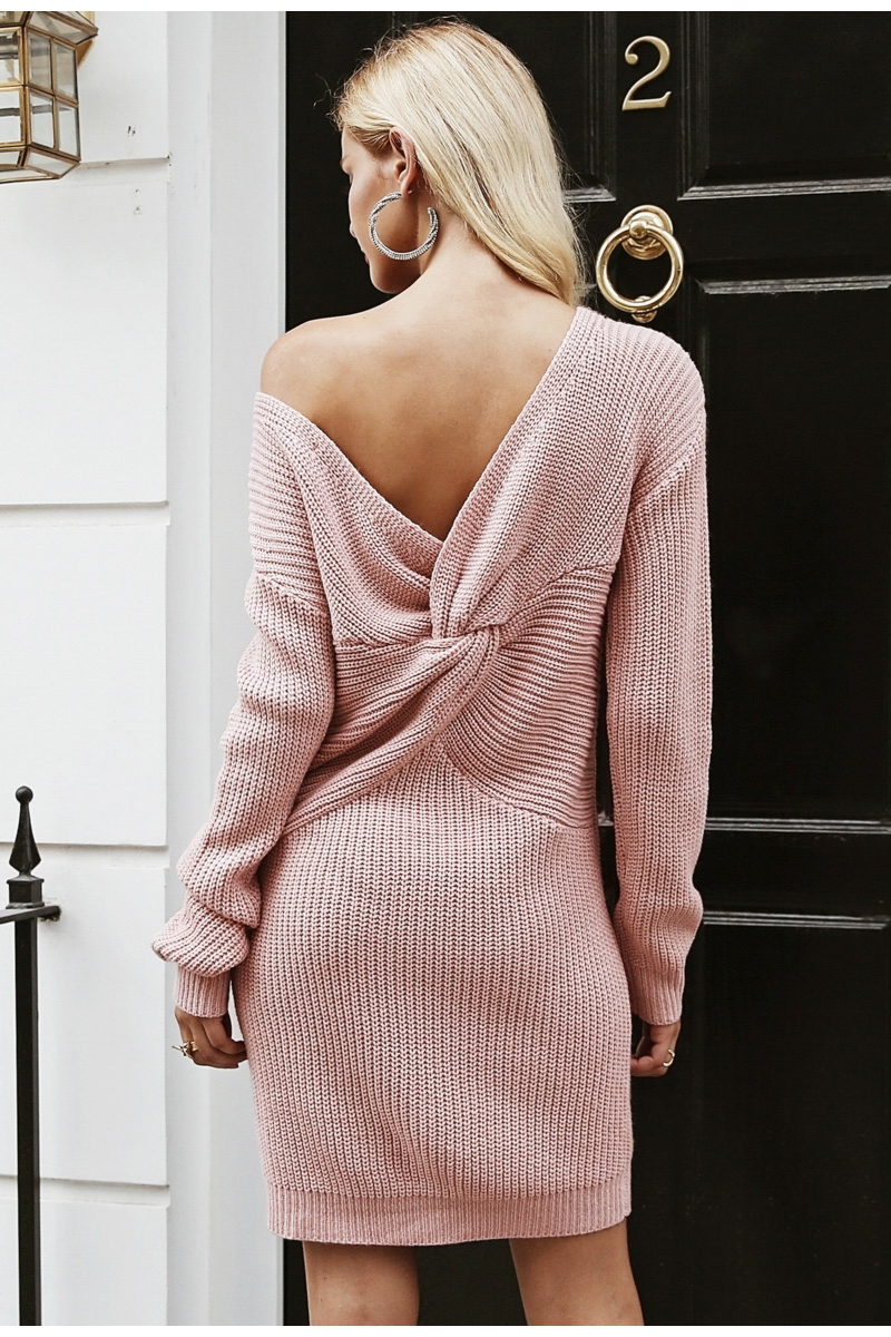 shop Off shoulder knitted sexy cross long sleeve dress