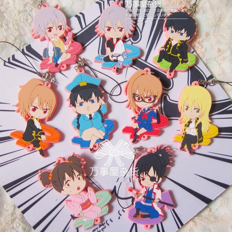 Gintoki Sakata Kagura Reverse Version Anime Gintama Gum Resin Kawaii Keychain Pendant<br><br>Aliexpress
