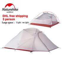 DHL freeshipping Brand NatureHike tent New 1.8kg 3 Person 20D Silicone Fabric Double-layer Camping Tents NH Outdoor Tent