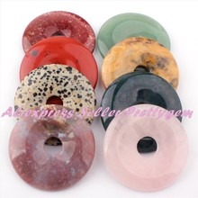 Aventurine,Fluorite,Quartz,50mm Natural Stone Beads Donut Round Pandant 1 Pc,For DIY Necklace Jewelry Making,Free Shipping